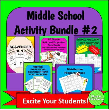 Middle School Math Activity Bundle #2