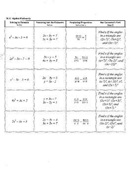 Middle School Algebra Mathnerdy, 20 Jeopardy columns,templ