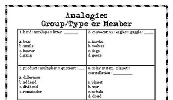 Middle School Analogies 1-5 Bundle