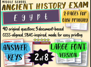 Middle School Ancient History Exams - EGYPT - 40 Questions, Common Core Inspired