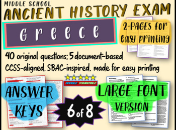 Middle School Ancient History Exams -GREECE- 40 Questions,