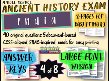 Middle School Ancient History Exams --INDIA-- 40 Questions, Common Core Inspired