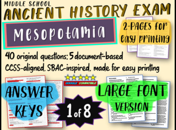 Middle School Ancient History Exams - MESOPOTAMIA - 40 Qs, Common Core Inspired