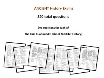 Middle School Ancient History Exams --ROME-- 40 Questions, Common Core Inspired