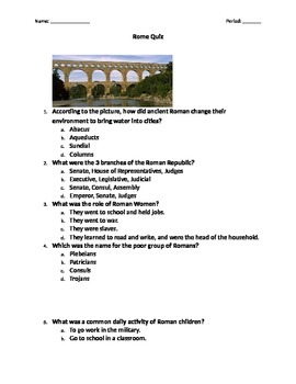 Middle School Ancient Rome Quiz
