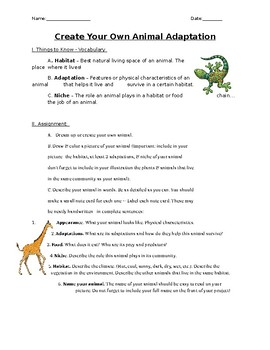 Middle School Animal Adaptations Activity