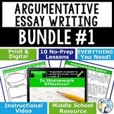 Argumentative Writing Essay Prompts Bundle #1 | 10 Lessons | Print and Digital