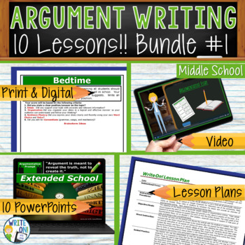 ARGUMENTATIVE WRITING PROMPTS BUNDLE #1 - 10 LESSONS!!!!!