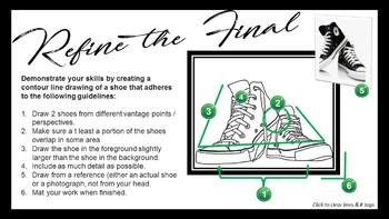 Middle School Art: Contour Line Shoe Drawing & Design