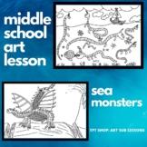 Art Sub Lesson - Sea Monsters - Maps - Middle School - Exp
