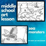 Middle School Art Lesson - Sea Monsters - No Prep Sub Plan