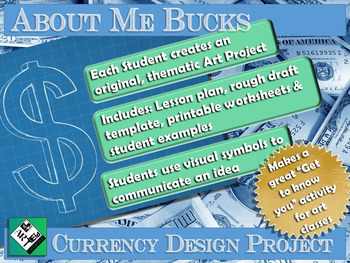 """Middle School Art Project: """"About Me Bucks"""" A Currency Des"""