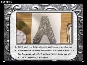 Middle School Art: TEXTURE (aluminum foil, faux painted, embossed letters)