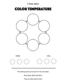 Middle School Art Worksheet Bundle. Color Theory Worksheets and Quiz