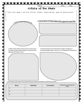 Middle School Article of the Week *CCSS Aligned *Uses all 10 standards