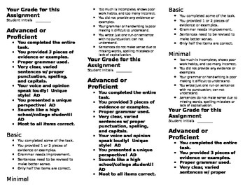 Middle School Assignment Rubric
