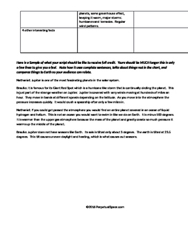 Middle School Astronomy Unit Assessment or Project