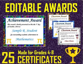 Middle School Award Certificates (Editable)