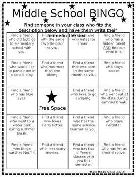Middle School BINGO