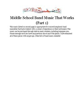 Middle School Band Music That Works (Part 1)