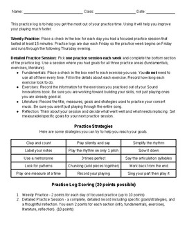 Middle School Band Practice Log
