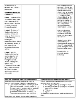 Middle School Behavior Plan - Attend Class & Academic Deficits. Avoidance Fn