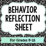 Middle School Behavior Reflection Sheet - Classroom Management