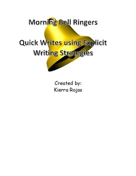 FREEBIE!!!     Middle School Quick Bell Ringers for Writing