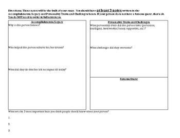 Middle School Biography Project - Notecatcher/Graphic Organizer