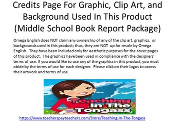 Middle School Book Report / Book Review Package
