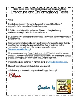 FREE: Middle School  Book Titles Using Common Core Text Complexity Model
