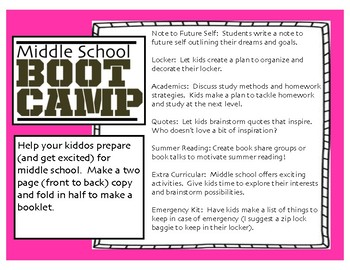 Middle School Boot Camp -Last Week 5th Grade