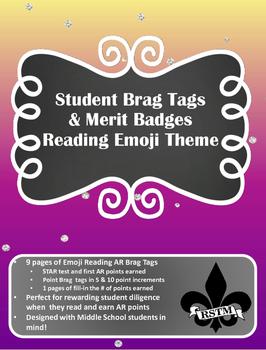 Middle School Brag Tags--AR Emoji Theme