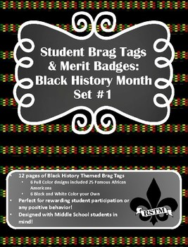 Middle School Brag Tags--Black History Month