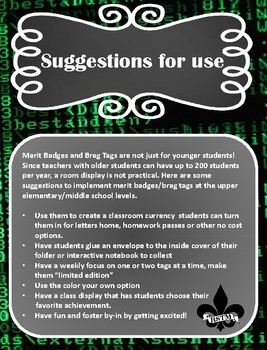 Middle School Brag Tags--Digital Literacy