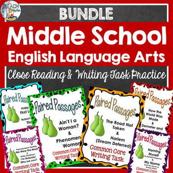 Middle School Bundle: Paired Passages & Writing Tasks 12 T