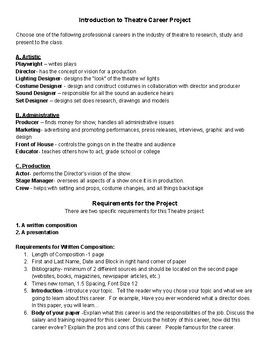 Middle School Careers in Theatre Project
