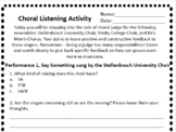 Middle School Choir Listening Activity - Perfect for a sub