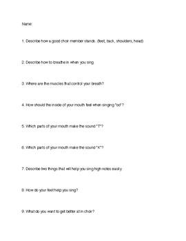 Middle School Choir Sub Lesson Plans