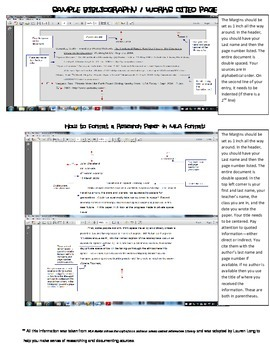Middle School Citation Sheet-- closed notes and answer key