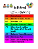 Middle School Class Dojo Individual Rewards