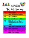 Middle School Class Dojo Individual Rewards