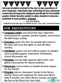 Middle School Class Jobs