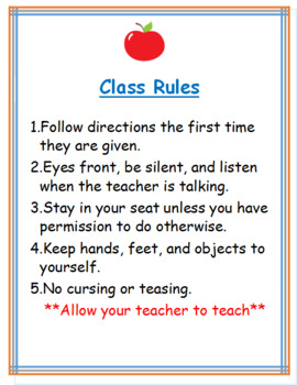 Middle School Class Rules Poster