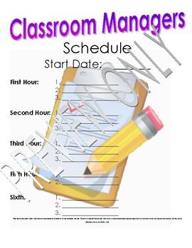 Middle School ELA Classroom Helpers Schedule and Job List