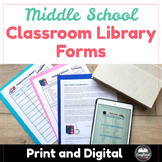 Middle School Classroom Library Forms: Permission slip, Recommendations, Log