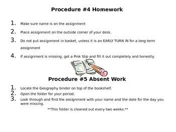 Middle School Classroom Procedures