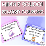 Middle School Classroom Reward Coupons