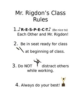 Middle School Classroom Rules Poster
