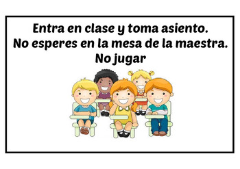 Middle School Classroom rules in both English and Spanish